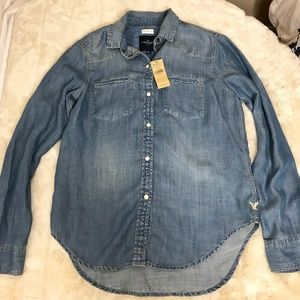 NWT American Eagle Jean Button Up Shirt Size XS